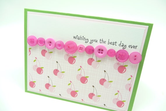 Pink Cherry Birthday Card, Pink Button Greeting Card, Handmade Card for Her, Girl's Birthday Card