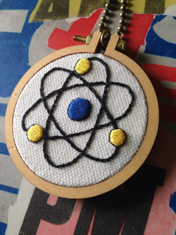 Up and Atom Hand Embroidered Mini Hoop Art Necklace