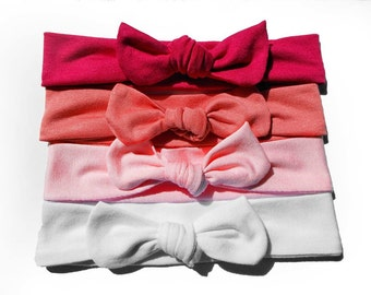 Valentine's Jersey Knit Knotted Bow Headband Headwrap Color Collection Pinks Baby Toddler Child Adult