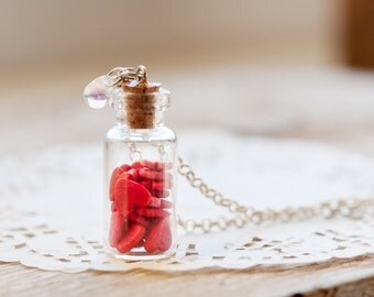 Glass Bottle Necklace - Heart Collection