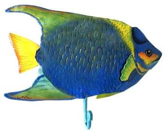 "Metal Wall Hook - Tropical Fish Towel Hook - Hand Painted Metal Art, Home Decor, Tropical Bathroom Decor, Metal Art - 7""  x 9"" -K-7221-HK-r"