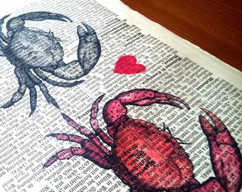 Irresistible Love Crabs Wedding Anniversary Engagement Valentine Gift Personalized Art Print on Antique 1896 Dictionary Book Page