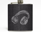 Music Headphones Liquor Flask on Mens Black Gray Tweed Suit Guys Groomsmen Gift Stainless Steel 6 oz Liquor Hip Flask LC-1040