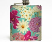 Women Whiskey Flask Floral Flower Retro Beach Vacation Honeymoon 21 Birthday Bridesmaid Gifts Stainless Steel 6 oz Liquor Hip Flask LC-1435