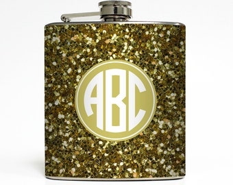 Glitter Flask Circle Monogram Personalized Faux Gold Sparkle Initials 21 Bridesmaid Gifts - Stainless Steel 6 oz Liquor Hip Flask LC-1063