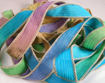 Hand Dyed Silk Ribbon - Crinkle Silk Jewelry Bracelet Fairy Ribbon - Quintessence - Garden Path
