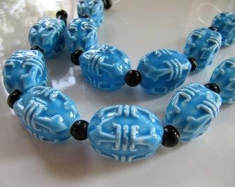 22mm PORCELAIN Beads, Sky Blue, Chinese Lantern Shape, 22mm x 14mm, 1 Strand, 6 Beads, 4 Sided Design, Oval, Tube
