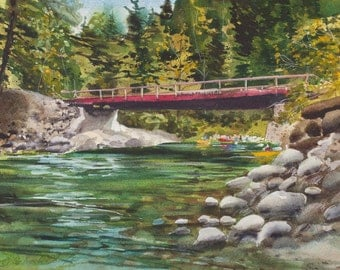 Rite of Passage, Watercolor Print, Stuart Fork River, Trinity Alps, Reflections, Trees, Northern California, Green, Woods, Bridge