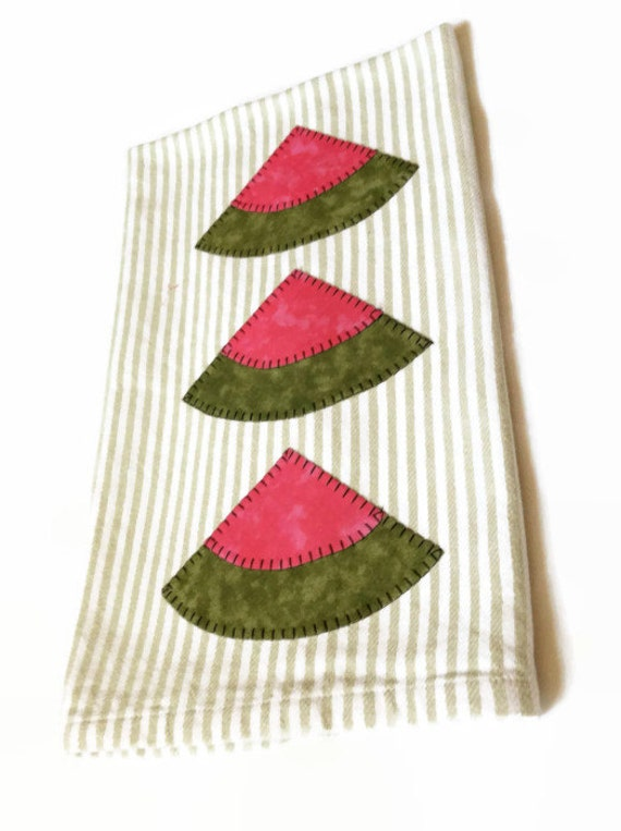 Watermelon applique green stripe dish towel