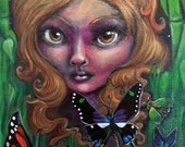 Nocturna Night Fairy Surreal Painting with Big Eyes Painting 8x10 inches Lowbrow Art by Amanda Christine Shelton