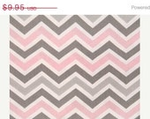 Closing Shop Home Dec Fabric Yardage - Chevron Stripe -Pink Gray and White - 1 yard