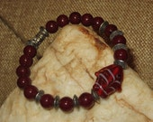 Red India Glass Fish Stretch Bracelet with Maroon Resin Beads & Silvertone Disc Spacers