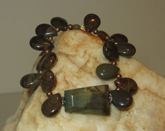 Red Creek Jasper Stretch Bracelet with Copper & Silvertone Daisy Spacers