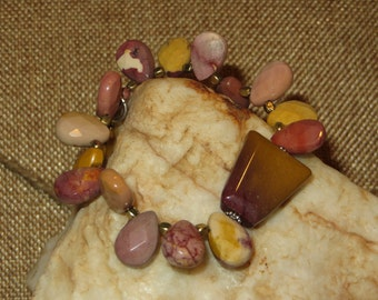 Mookaite Stretch Bracelet with Brass and Silvertone Daisy Spacers & Heart Charm