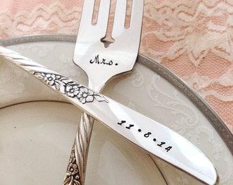 """Mr. & Mrs. Name / date, vintage wedding bride and groom """"Always/ wildwood"""" forks, hand stamped"""