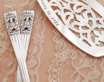 Personalized cake server & forks vintage set... for your wedding, hand stamped, Coronation