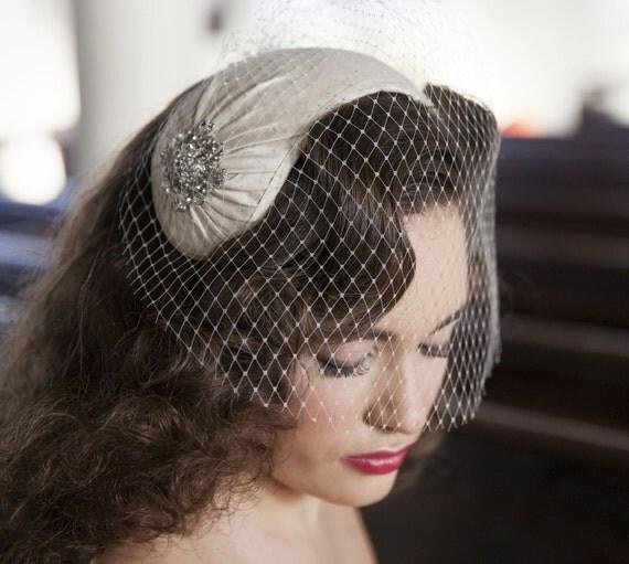 1950 S Style Wedding Hair: 1950s Style Veil And Headpiece Half Hat And Birdcage Veil