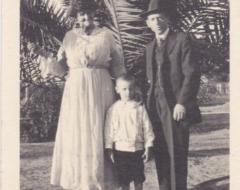 Vintage Photo - Family by Palm Tree - Vintage Photograph (EEE)