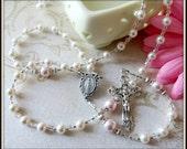 Girl's Custom Baptism Rosary in White & Pink Swarovski Pearl, Christening/Catholic Baptism Gift