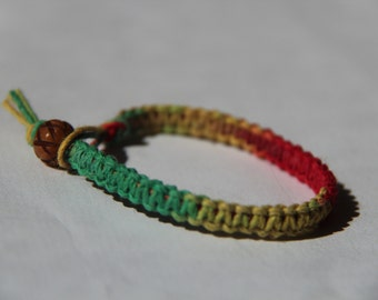 Red Yellow Green Tie Dye Hemp Bracelet