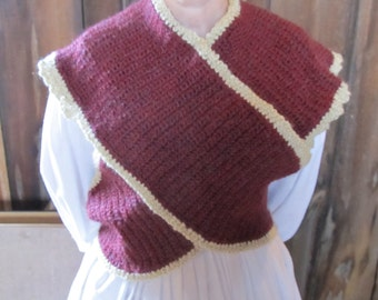 SALE - Sontag or Bosom Buddy Civil War Era - Acrylic - Size large - maroon and cream color - was 149.00