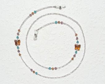 Butterfly Eyeglass Holder Necklace, Swarovski Crystal and Silver Eyeglass Chain Lanyard