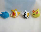 Fish Collection - 4 Pieces - 1 Blue Dolphin, 1 Orange Angelfish, 1 Black Angelfish, 1 Yellow Pufferfish Animal Jingle Bell Charms