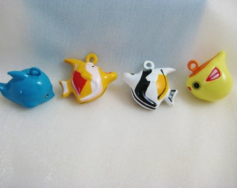 Fish Collection - 4 Pieces - 1 Blue Dolphin, 1 Orange Angelfish, 1 Black Angelfish, 1 Yellow Pufferfish Animal Jingle Bell Charms