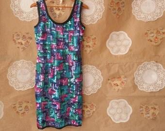 Swee Lo Vintage Women's Multi-Color Colorblock Sequin Dress Size Medium