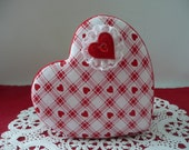 Padded Fabric Covered Valentine Heart Keepsake Jewelry Box