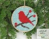 "christmas ornament needlepoint kit - diy - winter red bird - 3.5"" - aqua or sand - contemporary - modern"