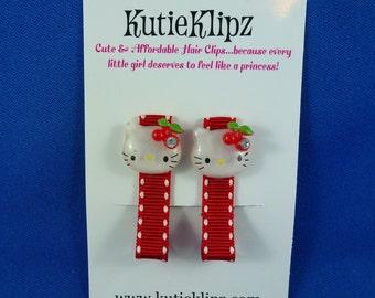 NEW - Kitty Sparkle and Polka Dots Hair Clips - Set of 2, Hairclip, Hair Bow, Hairbow, Hair Accessory
