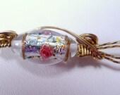 Vintage 12kg karat gold wire foiled glass lampwork pendant.