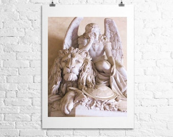 Angel and The Lion Florence Firenze Italy, Religious Italian Travel Photography, Fine Art Print 12x18
