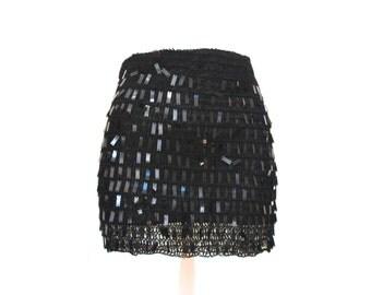 90's Sequin Knit Mini Skirt - S