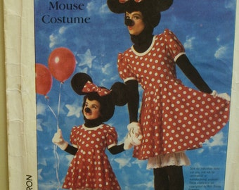 Adult Minnie Mouse Costume Pattern, Disney, Head, Dress, Bloomers, Gloves, Shoes, Simplicity 7730 UNCUT Size S (Bust 32-34)