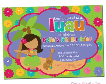 PRINTABLE Luau Party Invitation (Character of your choice) #549