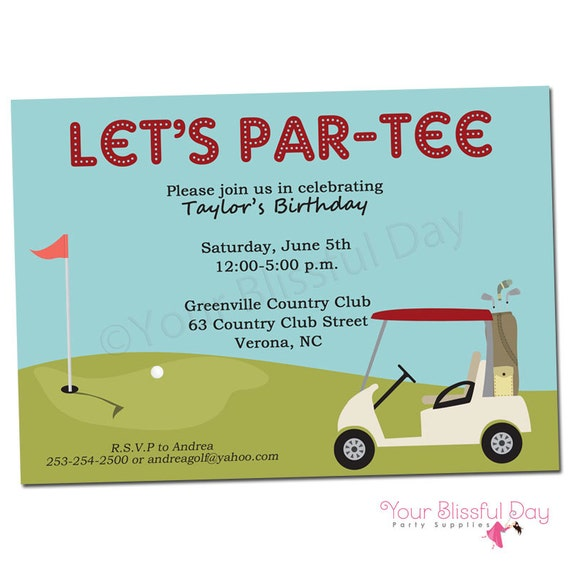 Golf birthday party printable invitation 108 personalized golf il570xn filmwisefo