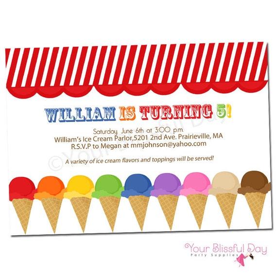 PRINTABLE Ice Cream Party Invitation #575