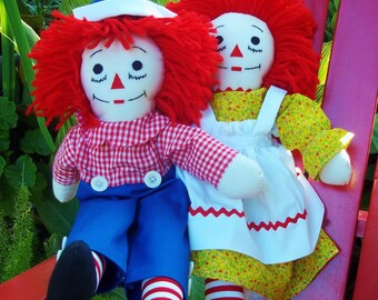 Classic Raggedy Ann and  Raggedy Andy doll measuring 20 inches