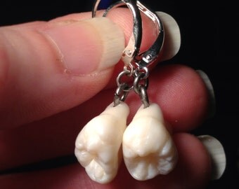 YOUR TEETH Made Into Leverback Dangle Earrings