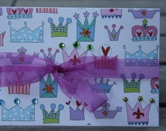 Birthday card, Girl birthday-Princess crowns