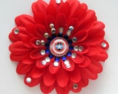 Captain America Shield-inspired Penny Blossom Sparkly Red Flower Barrette