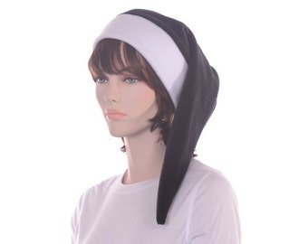 Black and White Long Stocking Cap Womens Men's Hat Made from Fleece