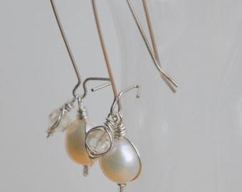 Pearl and Citrine Herringbone Sterling Silver Dangle Earrings