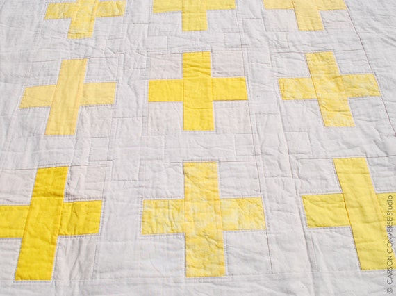 CLEARANCE - Yellow Plus Sign Quilt - Crib Size