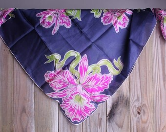 50s Floral Scarf - Vintage Blue and Pink Orchid Scarf - Orchid Scarf