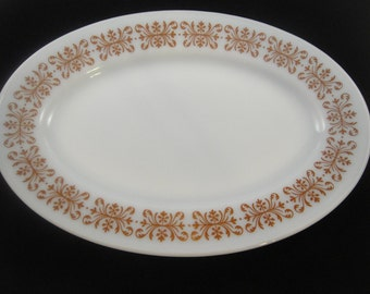 Pyrex Tableware by Corning Copper Filigree Pattern Oval Serving Platter (2)