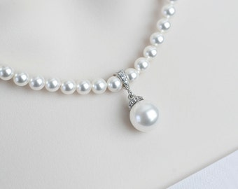 Bridal Necklace, Bridal Pearl Necklace,Wedding Jewelry, White/Ivory Swarovski Pearl Necklace