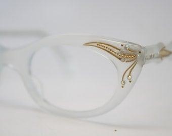 Whitesmoke Rhinestone cat eye glasses vintage cateye frames eyeglasses 1960s glasses